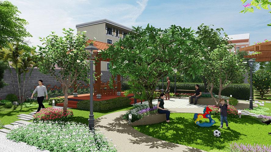 Thiết kế Sân vườn biệt thự ở Tân Hiệp - Hóc Môn
