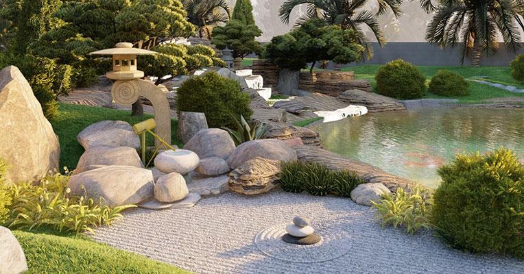 Xu hướng thiết kế cảnh quan mộc mạc sân vườn đá