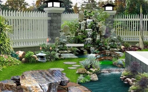 Xu hướng thiết kế sân vườn với thác nước hòn non bộ