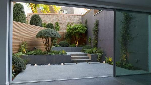 Thiết kế sân vườn cho nhà ống sau nhà