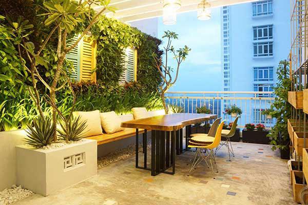 Thiết kế sân vườn cho nhà ống trên sân thượng