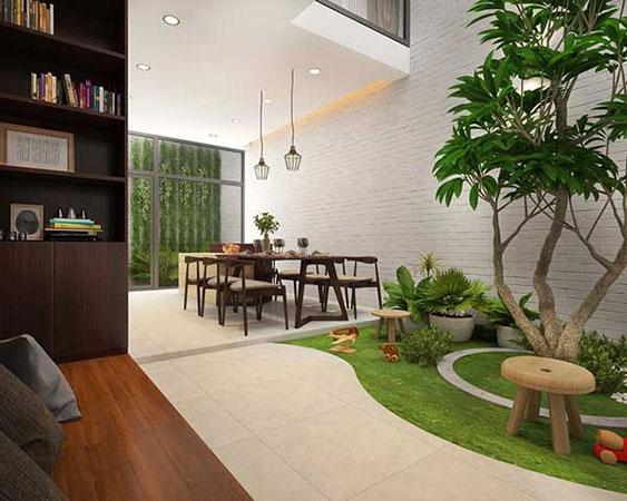 Thiết kế sân vườn cho nhà ống trong nhà