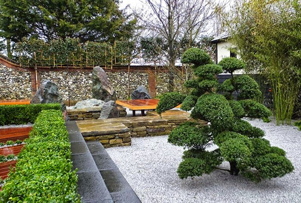 Thiết kế sân vườn trước nhà theo phong cách Nhật Bản